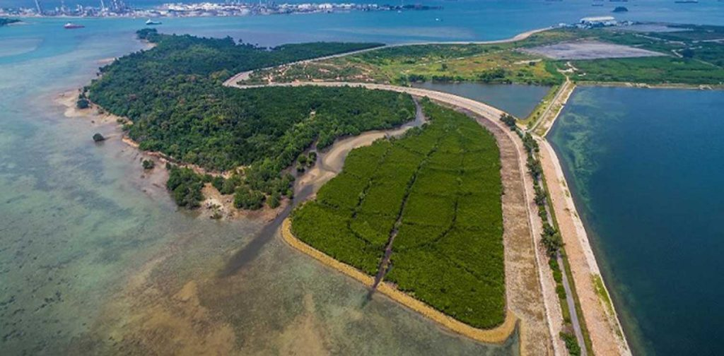 The green landscape of Semakau Landfill and the clean waters around it | Photo credit: NEA