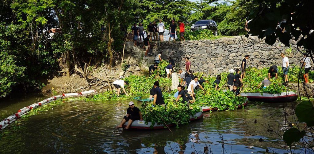 The team of Sungai Watch cleaning up the water hyacinth in one of Bali's river.